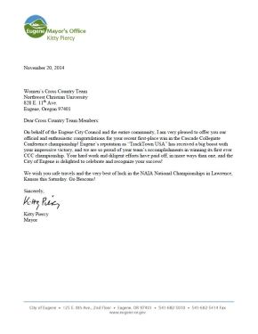 Mayor's Office Letter-Cross Country